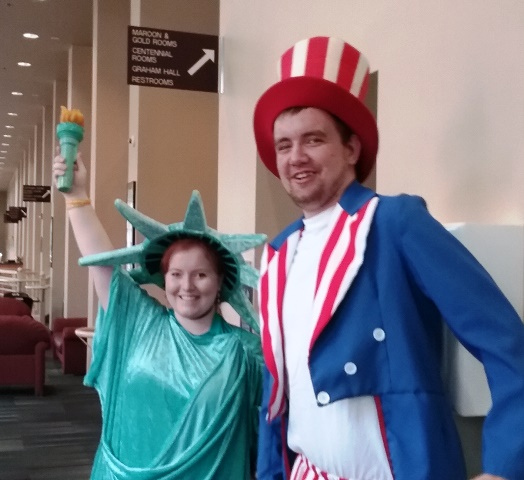 Students in Uncle Sam and Lady Liberty costumes