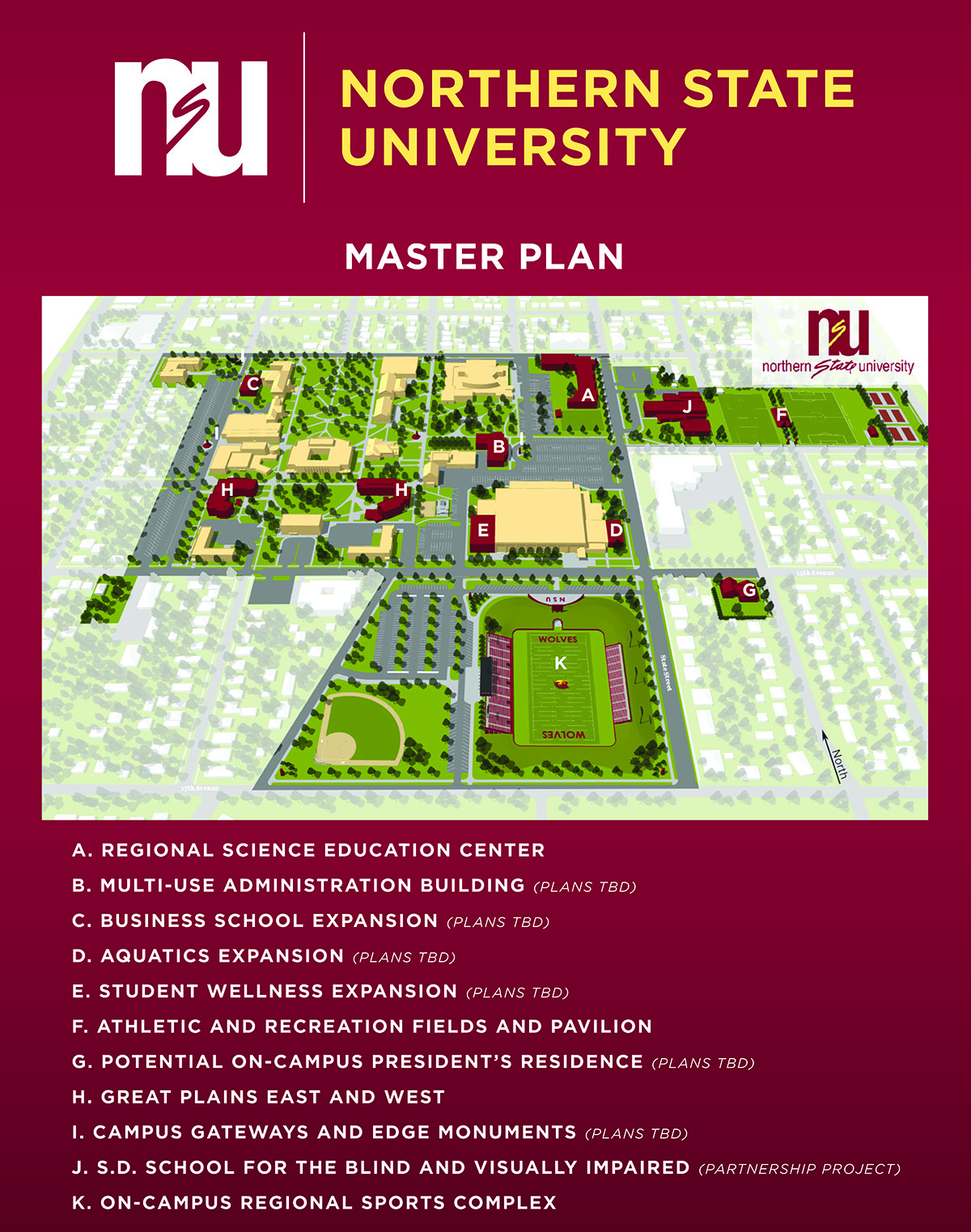 Norfolk State Campus Map.Nsu Master Plan Northern State University