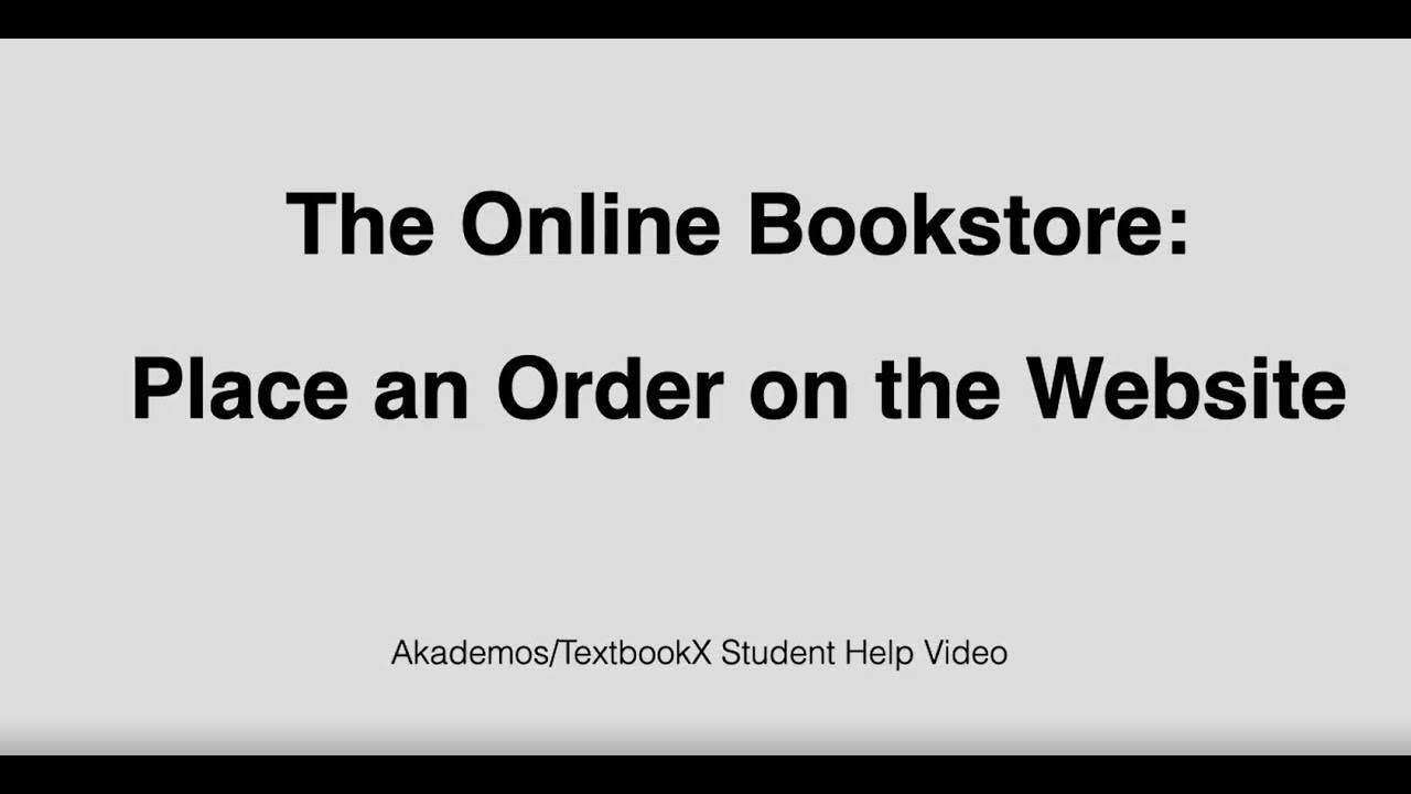 Students: Place an order at the Online Bookstore
