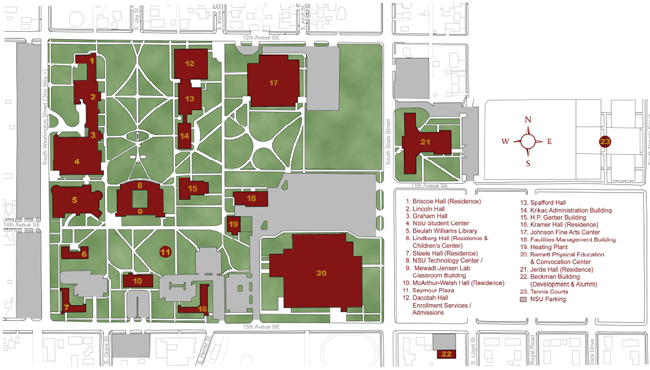 Map showing wireless access on Northern's campus