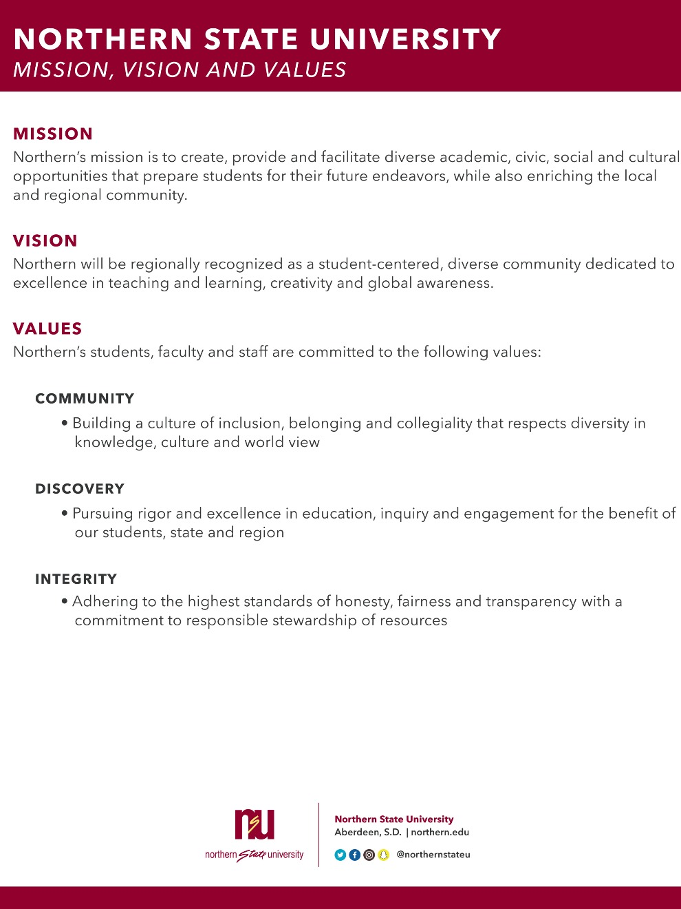 NSU Mission, Vision and Values statement