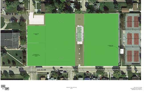 Proposed design of athletic fields, storage and spectator accommodations