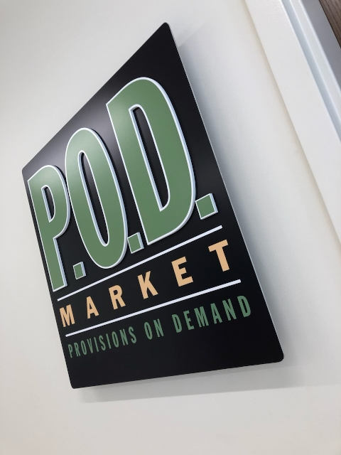 The POD convenience store sign