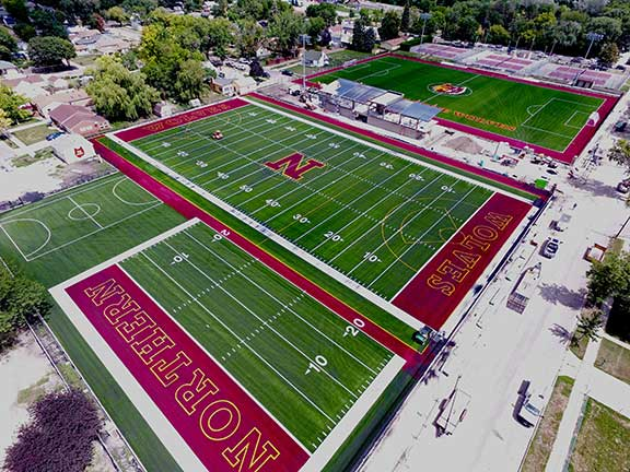 Overhead view of Athletic and Recreation Fields