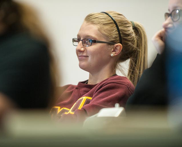 Student listening to lecture
