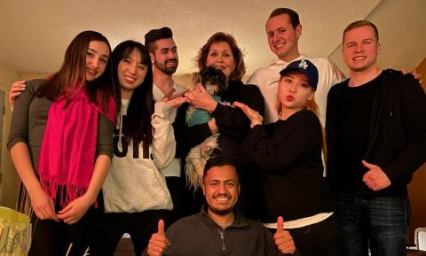 NSU International students with host mom in her home