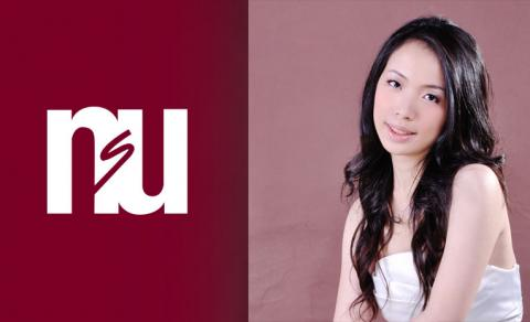 Image of NSU logo and head shot of visiting pianist