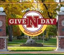 GiveNDay March 24, 2021, Northern State University, with photo of campus