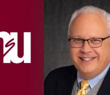 Image of NSU logo next to head shot of dean
