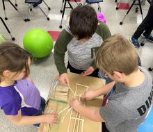 Children working on a STEM project