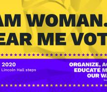Graphic with information about women's suffrage event at NSU