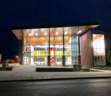 Front view of Regional Science Education Center at night